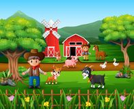 Farm scenes with many animals and farmers. Illustration of Farm scenes with many animals and farmers royalty free illustration