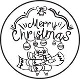 Merry Christmas and happy new years coloring page children. Merry Christmas december coloring page children winter royalty free illustration