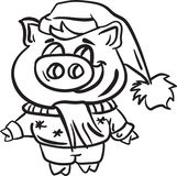 Pig and winter christmas coloring page animal. Holiday new year december vector illustration