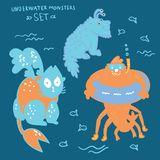 Cute underwater monsters and hand lettering set. Funny cartoon monsters illustration. Hand drawn vector doodle design for kids. Hand drawn children`s set for royalty free illustration