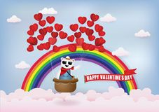 Balloon heart with bear on the basket, floating in the sky. vector illustration