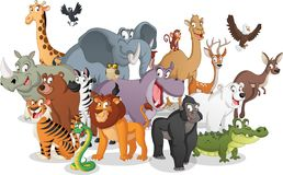 Group of cartoon animals. Vector illustration of funny happy animals. vector illustration