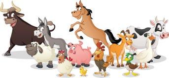 Group of farm cartoon animals. Vector illustration of funny happy animals. stock illustration