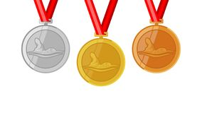 Front crawl swimming complete shinny medals set gold siver and bronze in flat style. A medal or medallion is a small portable artistic object, a thin disc royalty free illustration
