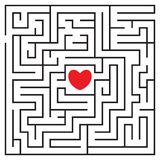 Labyrinth with red heart. And to enters. Find your love. Find the way. Relationship. Happy Valentine`s day card. Vector illustration royalty free illustration