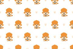 Vector cartoon character poodle dog seamless pattern. For design royalty free illustration