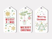 Elegante Christmas Label Pack In White vector illustration