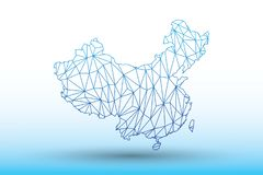 China map vector of blue color geometric connected lines using triangles on light background illustration meaning strong network. China map vector of blue color royalty free illustration