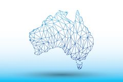 Australia map vector of blue color geometric connected lines using triangles on light background illustration meaning strong netwo. Australia map vector of blue stock illustration