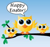 Happy easter three cute birds sitting on a branch vector illustration