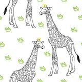 Giraffe vector pattern vector illustration