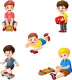 Cartoon kids with different hobbies collection set stock illustration