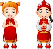 Cartoon cute boy and girl in chinese costume. Illustratio of Cartoon cute boy and girl in chinese costume royalty free illustration