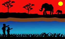 PrintElephant in the African savanna at sunset. Doum palms, acacia. Silhouettes of animals and plants. Realistic vector landscape. royalty free illustration