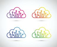 Colourful abstract cloud computer chip icon set. An colourful abstract cloud computer chip icon set vector illustration