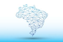 Brazil map vector of blue color geometric connected lines using triangles on light background illustration meaning network. Brazil map vector of blue color stock illustration