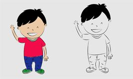 Do not understand, Think out. The concept of learning and growing children. Cartoon illustrations vector - Images vectorielles. Kids boy do not understand, Think vector illustration