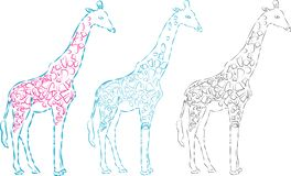A Vector giraffe silhouette, abstract animal illustration. Can be used for background, card, print materials - Images vectorielles vector illustration