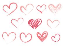 Hand drawn hearts. Design elements for Valentine`s day. vector illustration