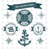 Ocean and sea anchor themed ship logo collection stock illustration