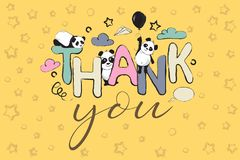 Thank you greeting card design with cute panda bears and quote