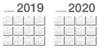 Year 2019 and Year 2020 calendar horizontal vector design template, simple and clean design. Calendar for 2019 and 2020 on White Background for organization royalty free illustration