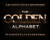 Golden alphabet font. Serif gold effect letters, numbers and symbols. royalty free illustration