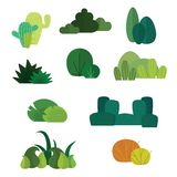 Set of flat designed different style bushes, hedge, live fence. stock illustration