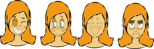 Character creation set with various views, face emotions, lip sync, poses and gestures. Separate Parts of body. Cartoon style, fla. T vector illustration stock illustration