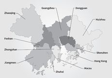 China Greater Bay Area Map in gray. Greater Bay Area Map in gray. Guangdong, Hong Kong, Macao, Greater Bay Area in China royalty free illustration