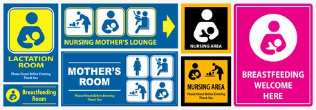 Set of restroom, nursing room, lactation room. Placard sign. easy to modify vector illustration