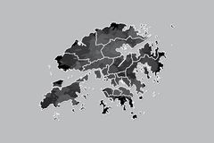 Hong Kong watercolor map vector illustration of black color with border lines of different districts or divisions on dark. Background using paint brush in page vector illustration