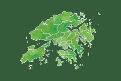 Hong Kong watercolor map vector illustration of green color with border lines of different districts or divisions on dark. Background using paint brush in page royalty free illustration