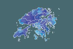 Hong Kong watercolor map vector illustration of blue color with border lines of different districts or divisions on dark. Background using paint brush in page royalty free illustration