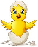Cartoon happy little chick with egg royalty free illustration