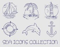 Sea marine ocean icons collection royalty free stock images
