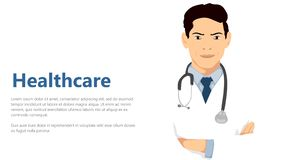 Healthcare concept doctor with cute smile standing in white uniform arm crossed with stetoscope in white background negative space. Vector art is created using stock illustration