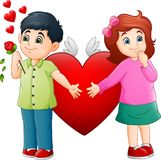 Cute Little boy giving flowers to a girl stock illustration