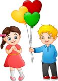 Cute little boy giving a balloon to the girl stock illustration