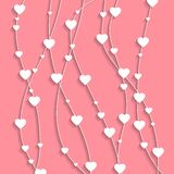 Banner card art gift background with white hearts for valentine`s day. royalty free stock image