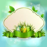 Spring Easter banner frame with space for text. Vector royalty free stock photography