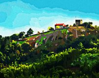 Beautiful Painting of Lanhoso Castle. royalty free stock photo