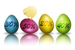 Easter discount clip art with eggs and chicken. Vector royalty free stock photos