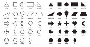 2DShapes Educational Chart Poster. Shapes Basic Chart. printable learning material for kids . Black and white printables game. Shapes For Kids illustration vector illustration