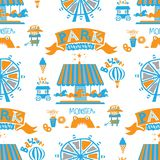 Seamless pattern Park. Christmas tree, circus, Ferris wheel, balloons, a carousel with horses vector illustration