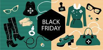 Sale banner. Fashion store. Fashionable womens clothing and accessories with a Black friday banner vector illustration