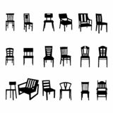Set of wooden chair silhouette royalty free illustration