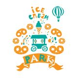 Amusement Park for the whole family, attractions and walking paths, pond, and ice cream, coffee and circus stock illustration