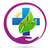 People healthcare plus heart care wellness logo. Hand holding people healthcare plus heart care wellness hospital medical emblem symbol concept design royalty free illustration