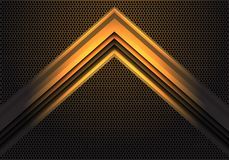 Abstract yellow arrow light shadow direction on circle mesh pattern design modern futuristic technology background vector. Illustration